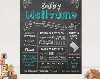 Baby Shower Chalkboard sign printable - Baby Boy Shower sign - Mommy to be chalk board baby shower gift - DIGITAL FILE!
