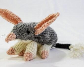 Hand Knit Australian Bilbi Soft Toy, Knitted Softie, Australian Wildlife Toy, Children's Toy