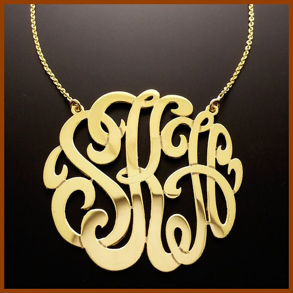 1 25 14kt Yellow Gold Three Initial Monogram Necklace