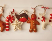 Traditional Christmas Decoration-  Christmas garland, Traditional decorations, gingerbread, reindeer, candy cane, christmas decor