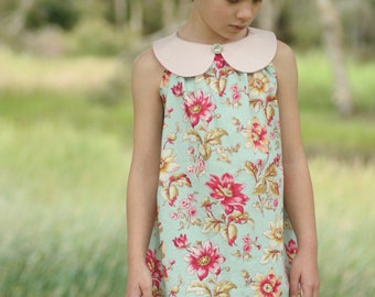 Sweet Pea Dress - girls' A line dress with peter pan collar - PDF pattern