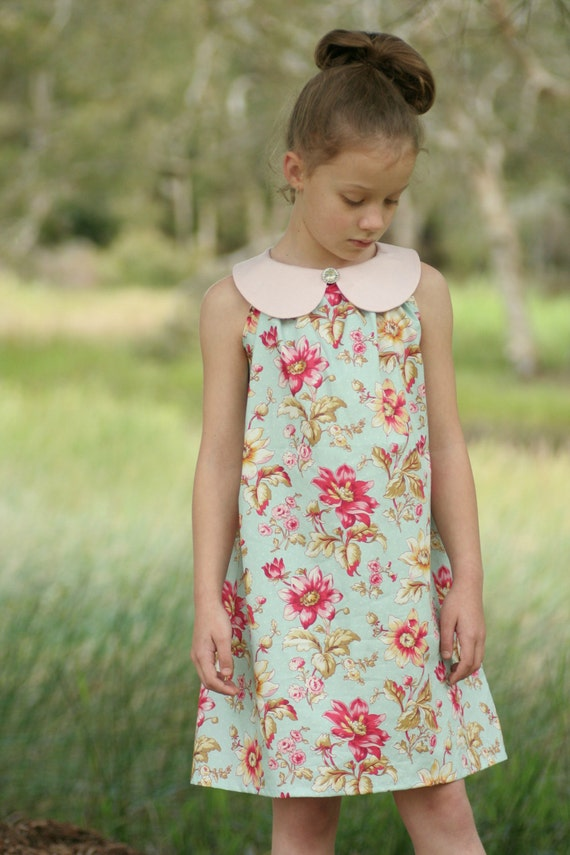 Sweet pea dress girls 39 a line dress with peter pan for Peter pan shirt pattern