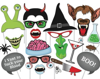MEGA PACK Halloween Photo booth Props Set - 37 Piece PRINTABLE - Witch, Werewolf, Devil, Vampire, Zombie, Mummy, Scary Clown, holiday