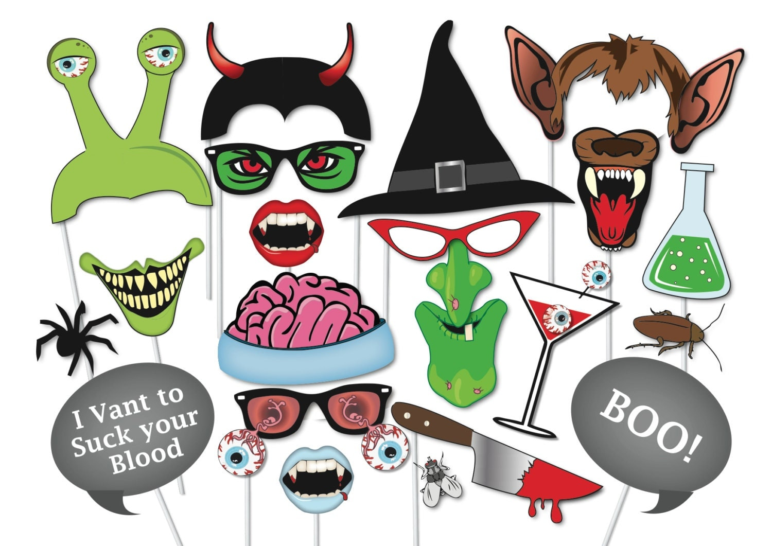 This is a graphic of Clean Halloween Photo Booth Props Printable Free