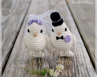 No 2 - Crochet bird wedding cake topper - Crochet bride and groom birds - Wedding cake topper - Love birds