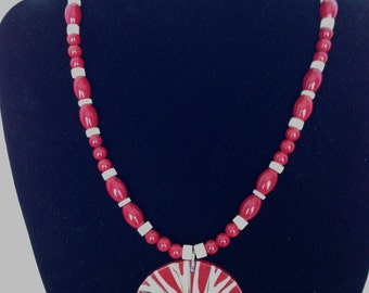 Freshwater coral and shell necklace