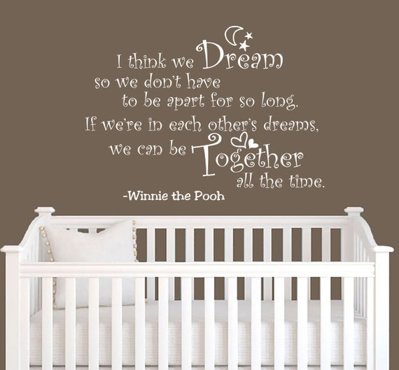 To wall decals quote winnie the pooh dream together home vinyl decal