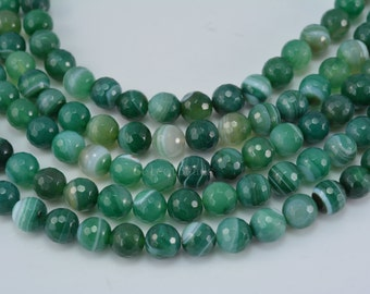 green banded agate beads - natural green agate - stripe gemstone beads - white and green beads -  faceted round beads -size 8-12mm -15inch