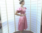 Vintage Rose Pink Satin Dress . Retro 60's style . Cape Sleeves . Princess Waist . Full Rockabilly Skirt . Attached Crinoline
