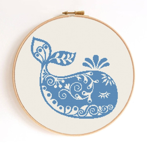 Cross Ornament For Girl Or Boy: Ornament Baby Whale Silhouette Counted Cross Stitch Pattern