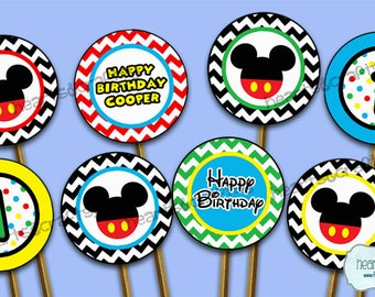 Mickey Mouse Clubhouse Party Printable Cupcake Toppers! Can also be used as Stickers, Favor Tags, Labels/ First Birthday - FILE to PRINT DIY