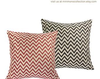 """Black & Red Chevron Linen Cotton Pillow Cover - Throw Pillows - Decorative Pillows - 17"""" x 17"""""""