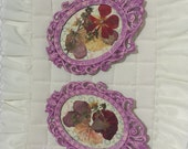 Orchid Frames, VictorianFrames, Miniature Frames, Pressed Flowers, Small Oval Frames -  by FairyLace Designs Wall Decor