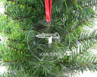 Personalized Custom Uzi Clear Acrylic Christmas Tree Ornament