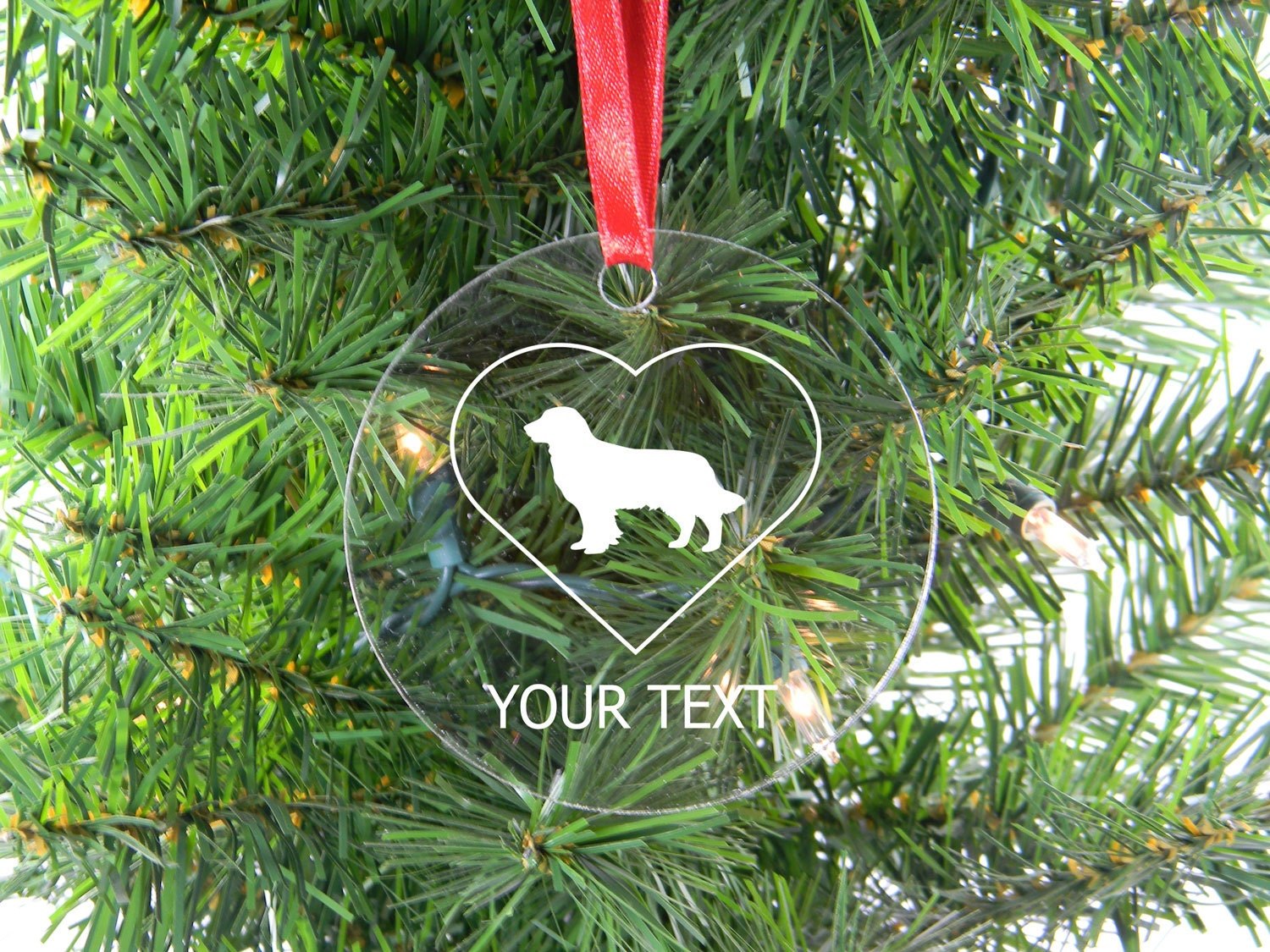 Personalized Custom Golden Retriever Heart Clear Acrylic Christmas Tree Ornament