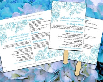 "Wedding Program Fan Template Ceremony Program Paddle Fan ""Botanical Vintage"" Malibu Blue Wedding Fan Printable DIY Wedding Program"