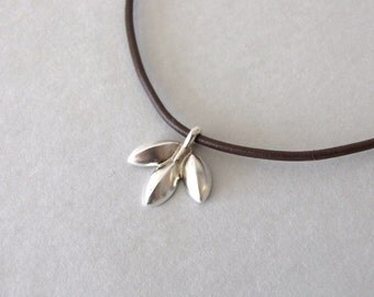 Three Leaves Necklace - silver leaf necklace , leather necklace , christmas gift