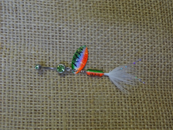 Green orange and white rooster tail fishing lure navel belly for Rooster tail fishing lure
