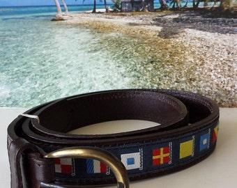 MEN NAUTICAL BELT . Nautical Belt with Code Flag Ribbon. Leather Belt.