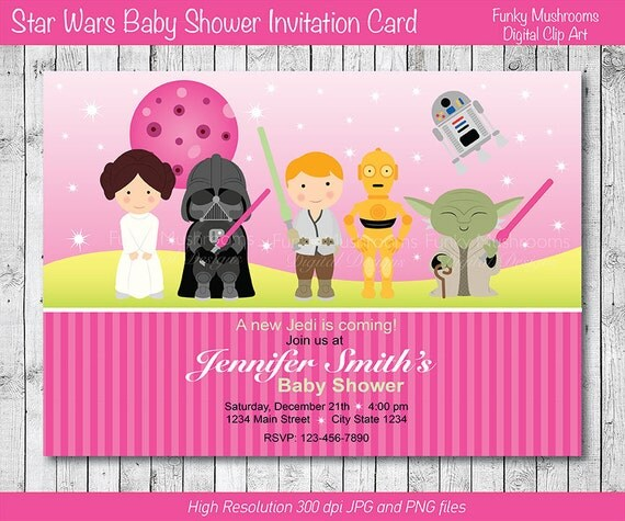 star wars baby shower invitation star wars invite pink baby girl