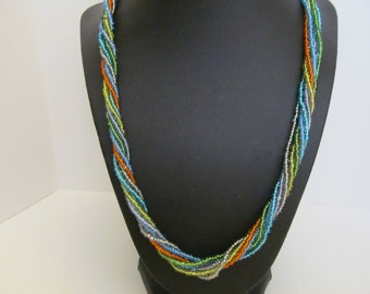 Beaded necklace, twisted beaded necklace, 7 strand beaded necklace