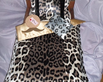 "Leopard Print, ""Mustache You a Question"", Bedding for 18 inch or American Girl Doll Bed"