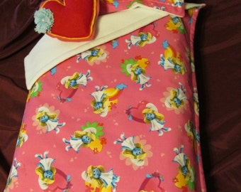 Deep Pink Smurfette Bedding with Heart Pillow for 18 inch, Bitty Baby, Cabbage Patch or American Girl Doll Bed