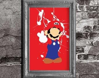 Super Mario Bros - Mario Splatter - minimalist poster, video game print, wall art, nintendo, pixel art