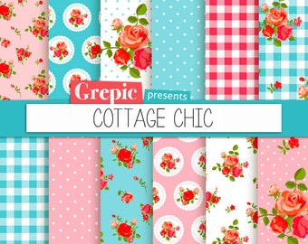 "Cottage chic digital paper: ""COTTAGE CHIC"" with roses, gingham patterns and polka dots in pink, blue, white for scrapbooking, invites, cards"