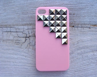 SALE 50% OFF - Pink silver pyramid studded iPhone 4/4s hard cover case