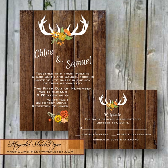 Antler Printable Rustic Wedding Invitation, Autumn Antler Wedding Suite, Custom Printable, Includes RSVP, Rustic Wedding, Autumn Wedding
