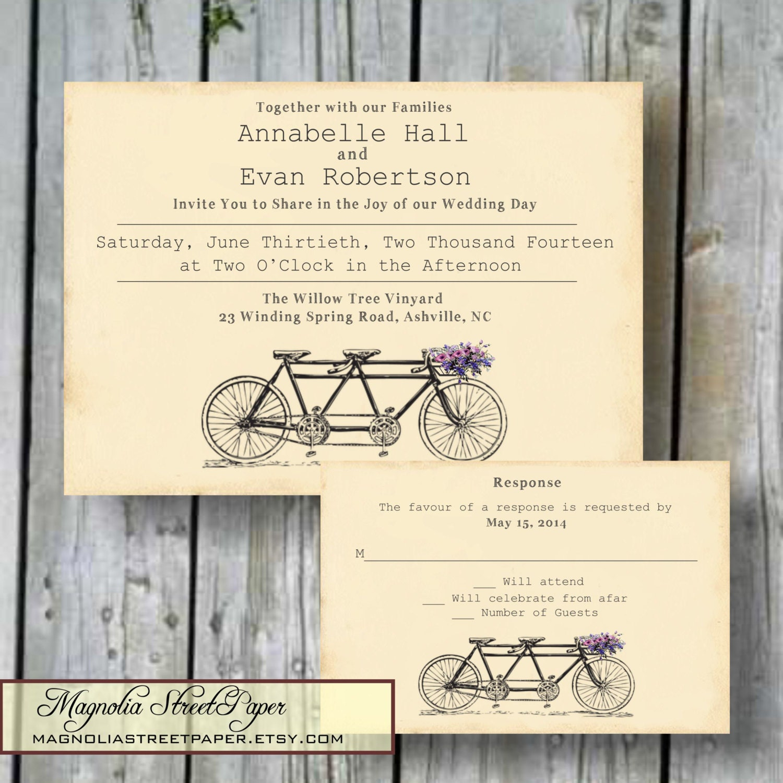 Tandem Bicycle Wedding Invitation Custom By