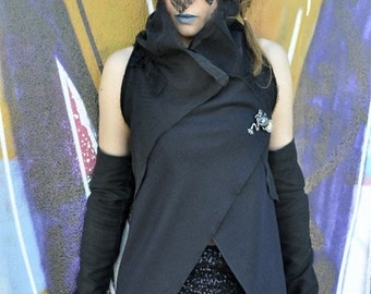 wool blend black sleeveless cardigan,open front black draped muslin and wool vest