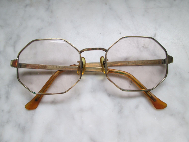 10k Gold Eyeglass Frames : Vintage Boho Eyewear 10K Gold Filled Metal Frames Hippie