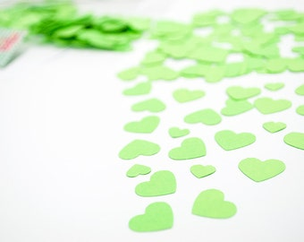 Heart Confetti Set. 450 bright green Heart Confetti for WEDDING, Valentine day, scrapbooking and decoration