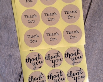 12 stickers Thank You in two different styles, to decorate your gift parcels or letters-brown stickers