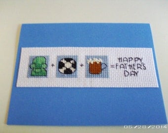 Happy Father's Day Cross-Stitch Greeting Card