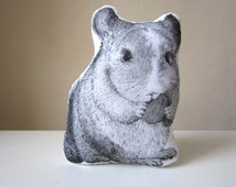 chinchilla hand painted throw pillow animal shaped plush soft toy white cotton gift idea