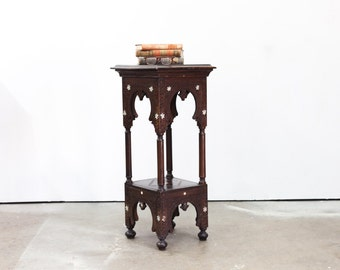 Moroccan Carved Two Tiered Inlaid Stand
