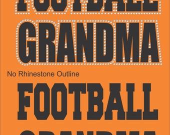 Vinyl Rhinestone Football Grandma Short Sleeve T-Shirt Many Colors