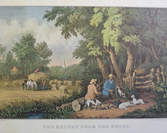 The Return from the Woods Vintage Currier and Ives Print 1960s from Original Lithograph hunting shooting calendar