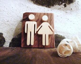 Wooden sign, bathroom sign, restroom sign, rustic sign, wooden wall sign, toilet door sign, rustic toilet decor, restroom decor