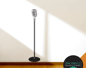Retro Microphone Vinyl Wall Decal - FUR002