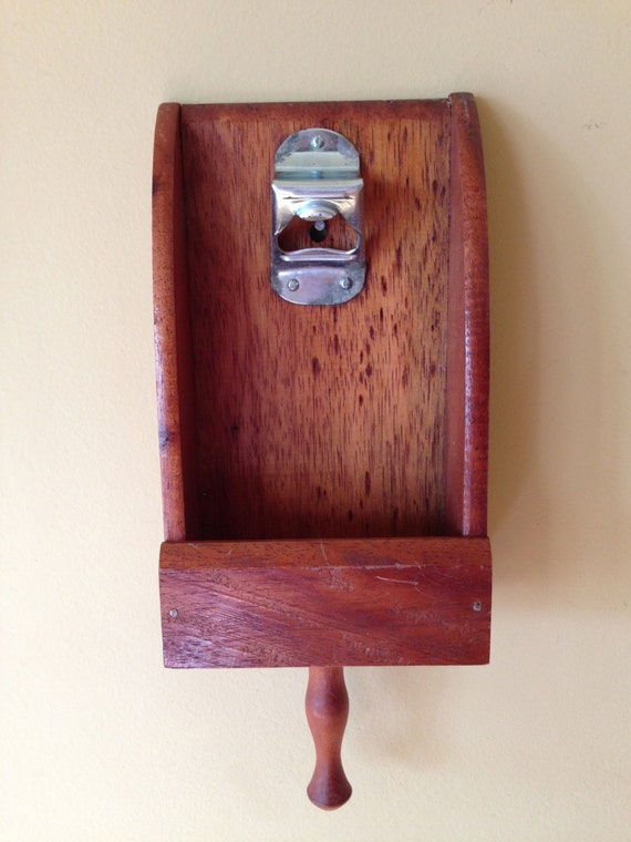 vintage bottle opener top catcher wood wall mount viking made. Black Bedroom Furniture Sets. Home Design Ideas
