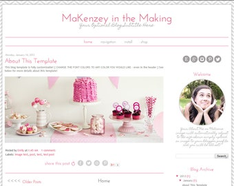 Premade Blogger Template -  Simple Pink and Grey Blog Template - Mobile Responsive Blog Template - Modern Blogger Template - MaKenzey