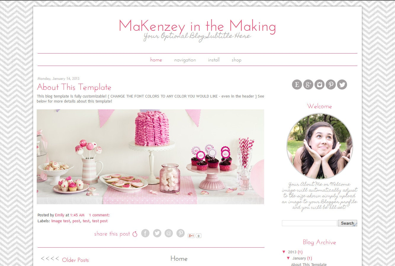 Premade blogger template simple pink and grey blog template for Blogger product review template