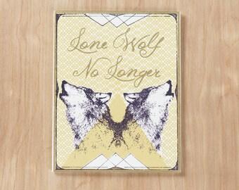 Lone Wolf No Longer Screen Printed Greeting Card