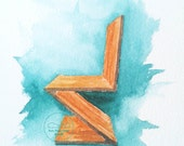 Watercolor Illustration Print of Rietveld ZigZag Chair. Modern design drawing. Design drawing watercolor  (HQ Reproduction)