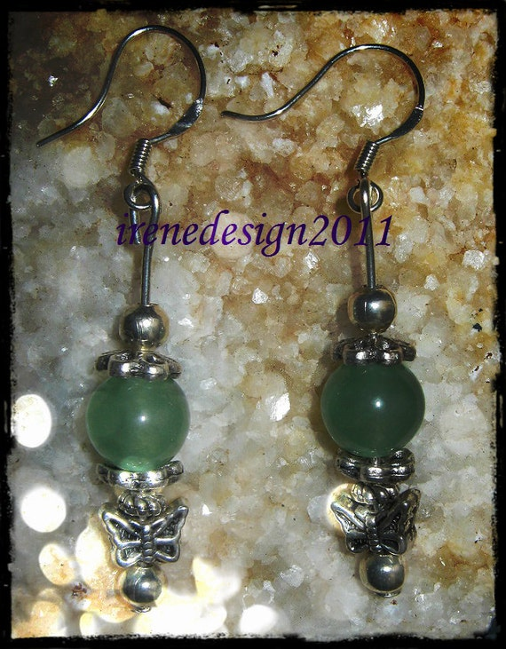 Beautiful Silver Hook Earrings with Green Aventurine & Butterfly by IreneDesign2011