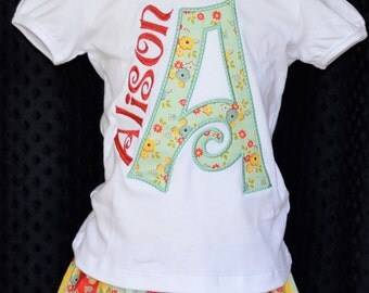 Personalized Floral Initial Name Applique Shirt or Onesie Girl